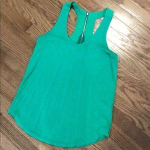 Trouve racer back zip green blouse S
